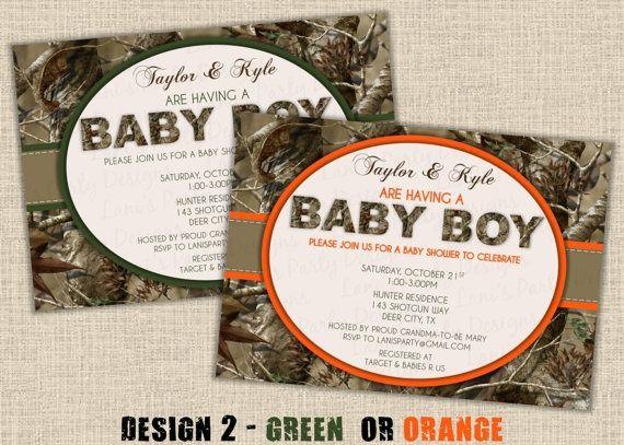 Camouflage Baby Shower Invites | BOY Hunting Camo Baby Shower Invitation by lanispartydesigns. , via ...