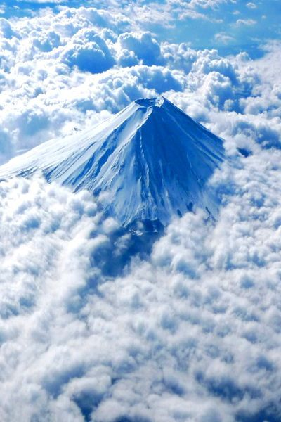 Mount Fuji, Japan, from way up in the clouds.