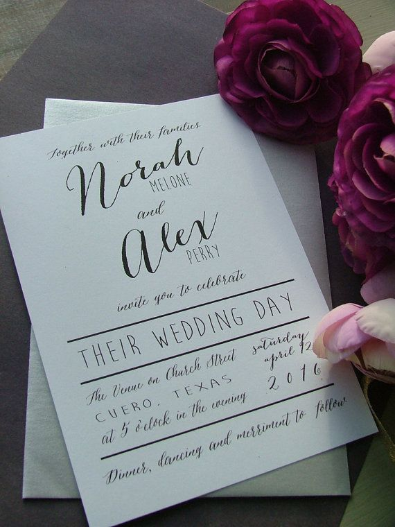 Black and white modern preppy  wedding by sweetinvitationco, $100.00
