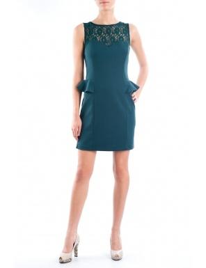 Rochie cu dantela si peplum 960 Verde  Brand: Moda Fashion
