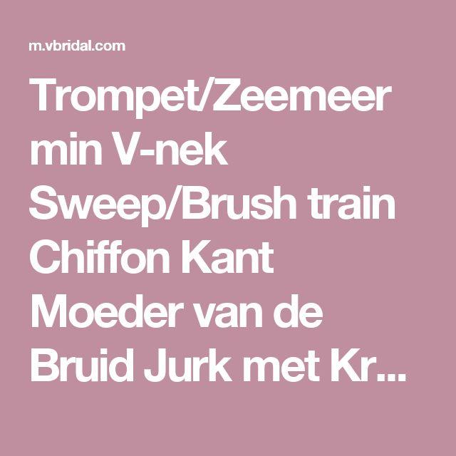Trompet/Zeemeermin V-nek Sweep/Brush train Chiffon Kant Moeder van de Bruid Jurk met Kralen (00805008507) - mvbridal