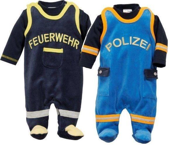 Baby Strampler Set Nicky Erstausstattung Geschenk Feuerwehr Polizei 44 50 56 62