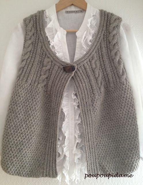 Free Knitting Pattern For A Gilet : 248 best images about Tricot - Knitting on Pinterest Free pattern, Knit jac...