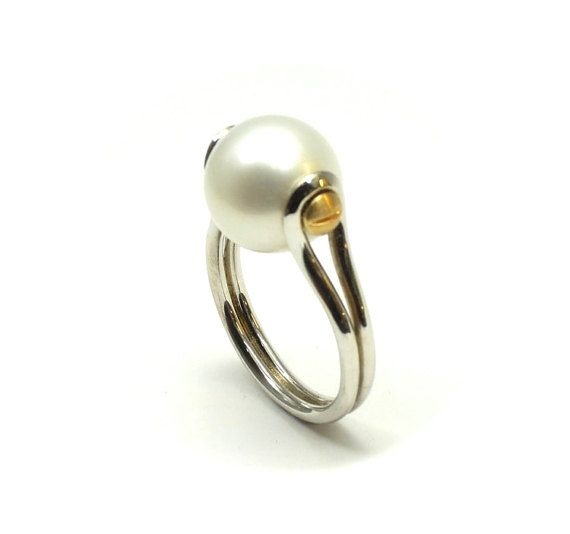 Natural Pearl ring solid sterling silver ring by RareEarthDS