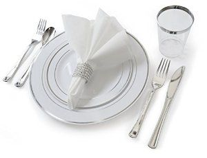 """OCCASIONS"" Full set - Wedding Disposable Plastic Plates, plastic silverware, silver rimmed tumblers and linen feel napkins w/napkin rings (settings for 40 guests) by OCCASIONS FINEST PLASTIC TABLEWARE"