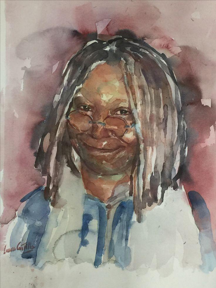 Retrato en acuarela de Whoopi Goldberg realizado por Laura Castilla