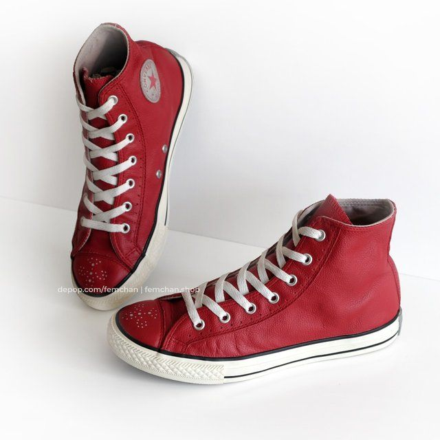 red genuine leather   Leather converse