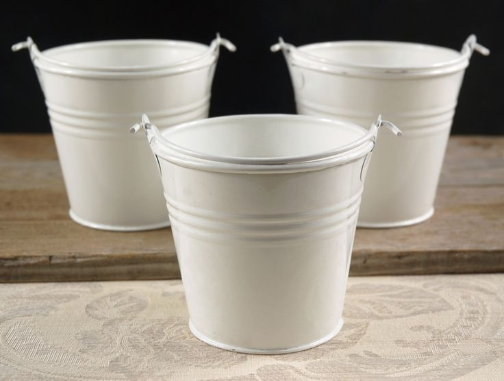 Tiny 4 white metal buckets white flowers other and for Large galvanized buckets for flowers