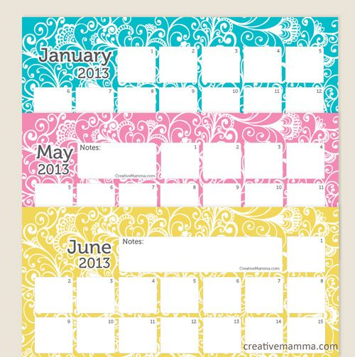 2013 Printable Calendars Round-Up