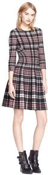 $1,785, Alexander McQueen Full Circle Skirt Plaid Dress. Sold by Nordstrom. Click for more info: https://lookastic.com/women/shop_items/359094/redirect