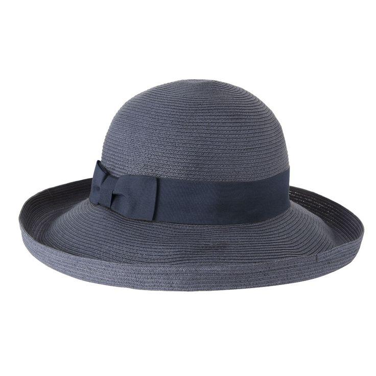 Gigi Hat - Navy, brim up.  www.sunhats.co.za