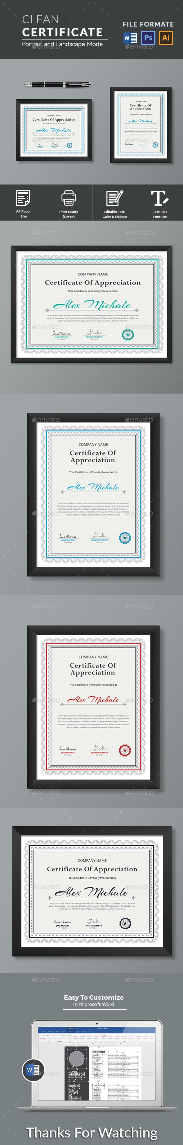 #Certificate - Certificates Stationery.!  This Modern Certificates is 100% Customizable and ready to print. A help file is included with the main file. 4 different color and easy to modify. Just select the global color and change the color in a single click... Download here: https://graphicriver.net/item/certificate/19435230?ref=classicdesignp