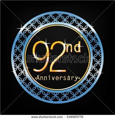black background and blue circle 92nd anniversary for business and various event