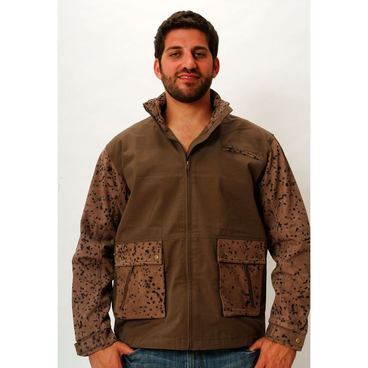 Mens Leather Hunting Jacket Brown Camo Rain / Wind Resistant Canvas & Leather