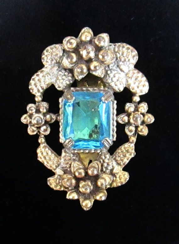 Aquamarine Dress Scarf Hat Clip Vintage by looseendsvintage