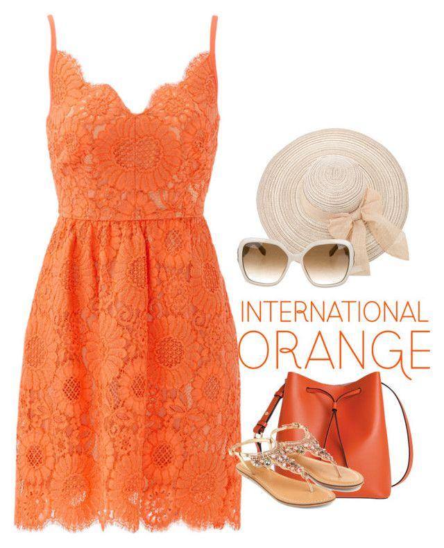 """Orange #15 (Kayla)"" by tori-kaylabeauty ❤ liked on Polyvore featuring Trina Turk, Salvatore Ferragamo, Lodis and Accessorize"