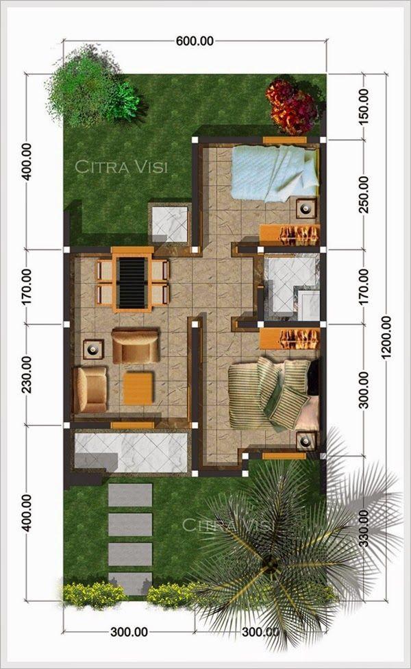 Denah Rumah Minimalis Tipe 60 ukuran 8 x 12