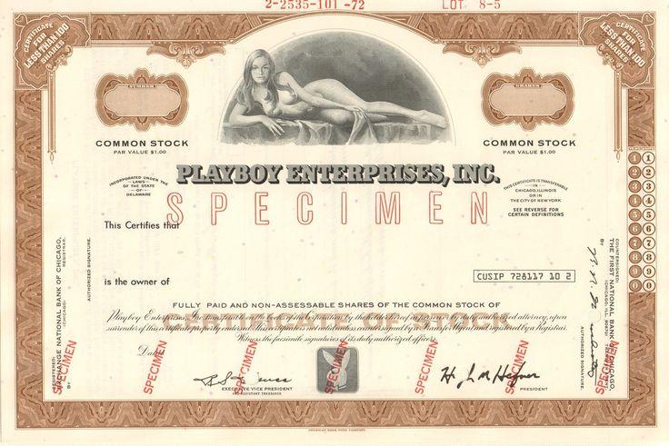 Playboy Enterprises Inc - brown specimen stock certificate (playmate vignette)