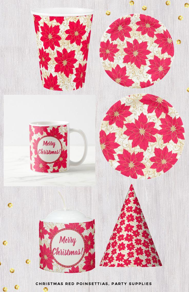 Christmas Red Poinsettias, party supplies #christmaspartysupllies