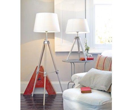 Chelsea Surveyors Floor Lamp in White Washed Timber/Chrome Detail | Floor Lamps | Lamps | Lighting
