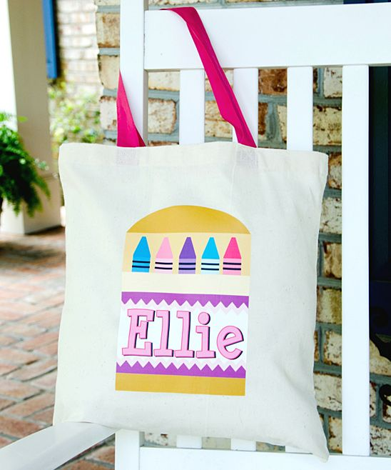 Pastel Crayon Personalized Tote