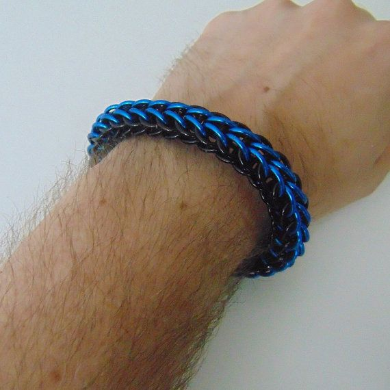"1/2"" Wide Black / Blue Full Persian Chainmail Metal Bracelet - Mens Bracelet - Womens Bracelet - Goth Emo Jewelry - Nickel Free - Punk Biker by JohnsChainmailShop from John's Chainmail Shop. Find it now at http://ift.tt/2eXVEIv!"