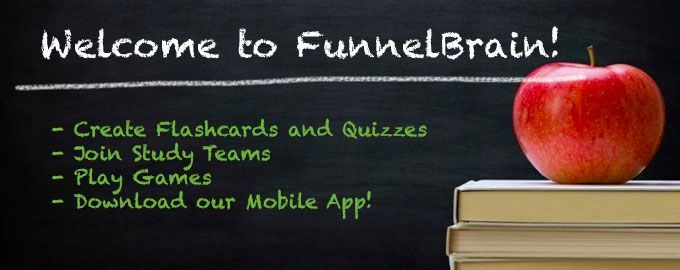 Create Free Flashcards, Quizzes and Study Teams on Funnel Brain = FunnelBrain is a free social learning website that provides a platform for collaborative learning with free study teams, flashcards, quizzes and learning games. Similar to Wikipedia, the FunnelBrain platform is entirely user-driven. Anyone can contribute by submitting or editing review questions and answers, as well as adding rich content such as photos, videos, audio voice recordings and math equations.