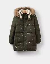 Joules Stella Girls Sherpa Lined Puffa Jacket 3-12yr in Night Sky Star