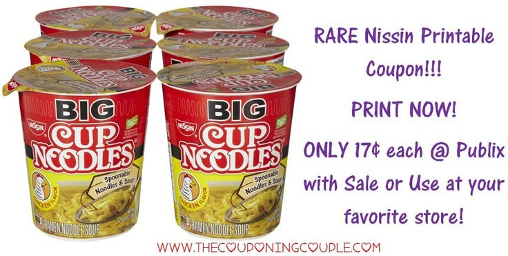 ***HOT NEW RARE B2G1 FREE NISSIN CUP NOODLES printable coupon*** Score a GREAT deal @ Publix right NOW or make a deal at your favorite store! Click the link below to the FULL BREAKDOWN including DIRECT LINKS to the Coupons ► http://www.thecouponingcouple.com/rare-new-nissin-b2g1-coupon/  #Coupons #Couponing #CouponCommunity  Visit us at http://www.thecouponingcouple.com for more great posts!