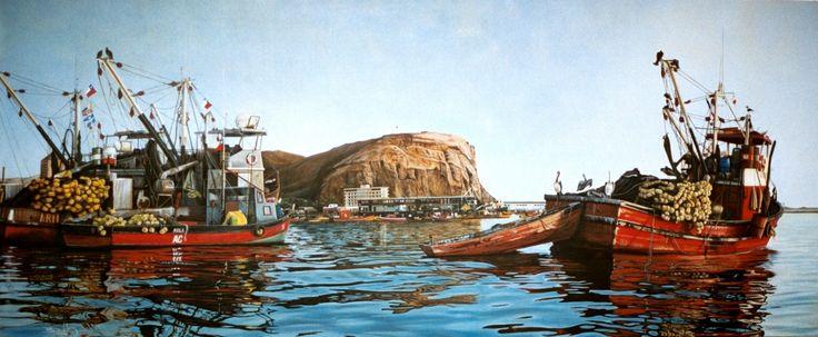 Oleo de Boris Doddis, Barcos y Morro de Arica. http://borisdoddis.wix.com/boris-doddis