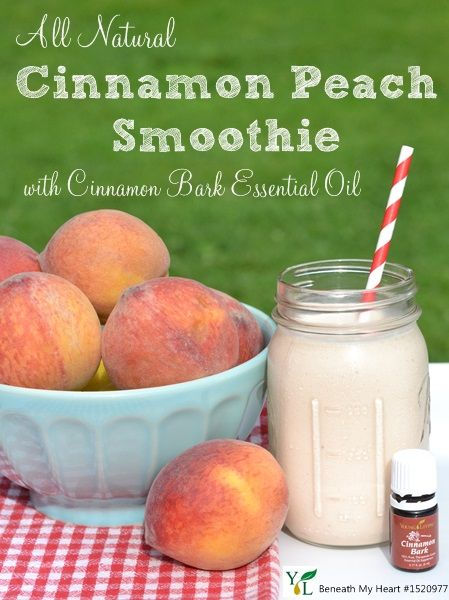 All Natural Cinnamon Peach Smoothie with Young Living Essential Oil Cinnamon Bark #essentiallysummerDiy Peach Smoothie, Smoothie Recipe, Peaches Seasons, Cinmamon Peaches, Peaches Smoothie, Oil Peaches, Cinnamon Peaches, Essential Oil Smoothies, Essentialoils Cinnamon