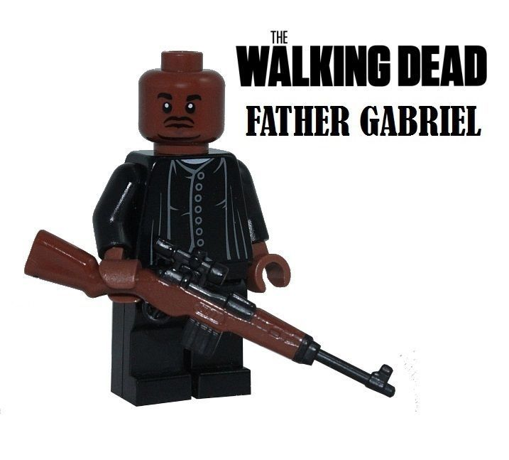 The Walking Dead FATHER GABRIEL minifigure action figure made with Lego zombie