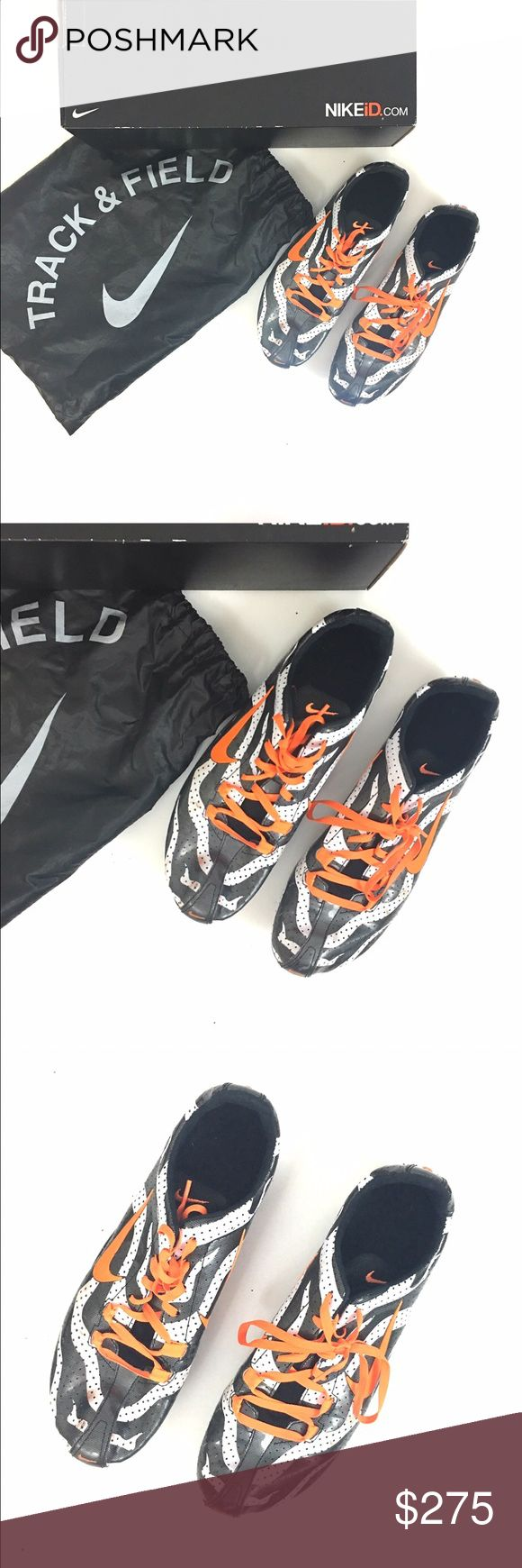 """CUSTOM one of kind NIKE track shoes/spikes These are my personal CUSTOM one of a kind track spikes for when I ran competitive track. They were custom made by Nike.  black and white stripes with bright orange accents. They have scuffs and markings overall and need new spikes. But they come with the bag and the box. These cost me well over 300. They also have an inscription """"my time to fly"""" on the back heels it's possible that this could be removed if you desired. Women's 11. Men's 9 DO NOT…"""