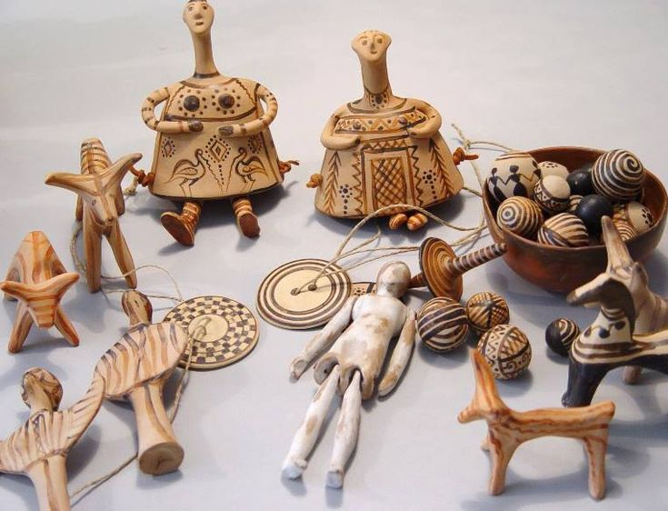 Ancient Greek children played with many toys, including rattles, little clay animals, horses on 4 wheels that could be pulled on a string, yo-yo's, and terra-cotta dolls.