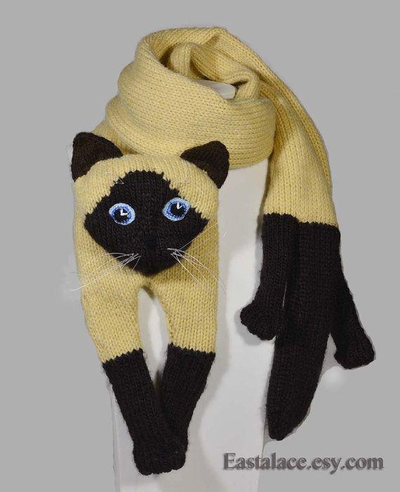 Knitting Cat Scarf Siamese Cat Scarf Animal knitting от Eastalace