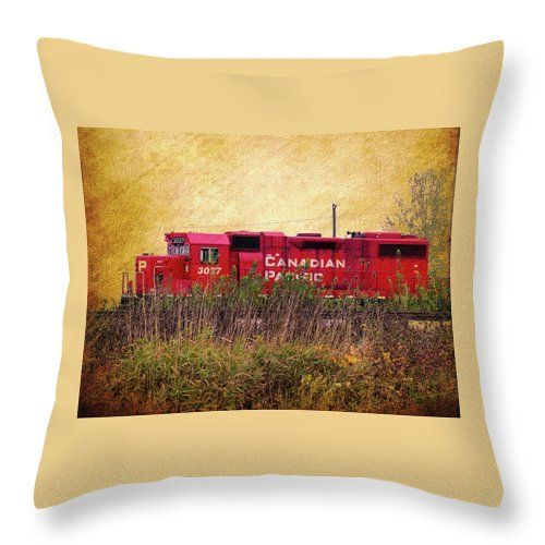 "Cp Engine Throw Pillow by Leslie Montgomery.  Our throw pillows are made from 100% spun polyester poplin fabric and add a stylish statement to any room.  Pillows are available in sizes from 14"" x 14"" up to 26"" x 26"".  Each pillow is printed on both sides (same image) and includes a concealed zipper and removable insert (if selected) for easy cleaning."