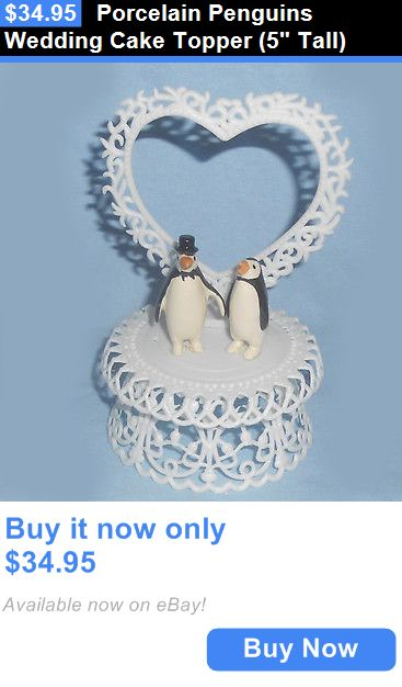 Wedding Cakes Toppers: Porcelain Penguins Wedding Cake Topper (5 Tall) BUY IT NOW ONLY: $34.95