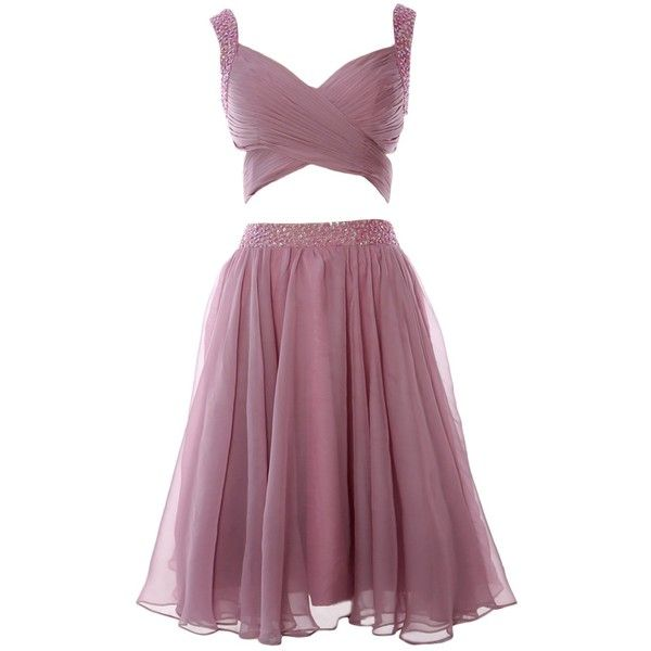 MACloth Women Two Piece Beaded Cutout Short Prom Gown Formal Evening... ($109) ❤ liked on Polyvore featuring dresses, purple prom dresses, cut out prom dresses, short formal dresses, formal dresses and formal prom dresses