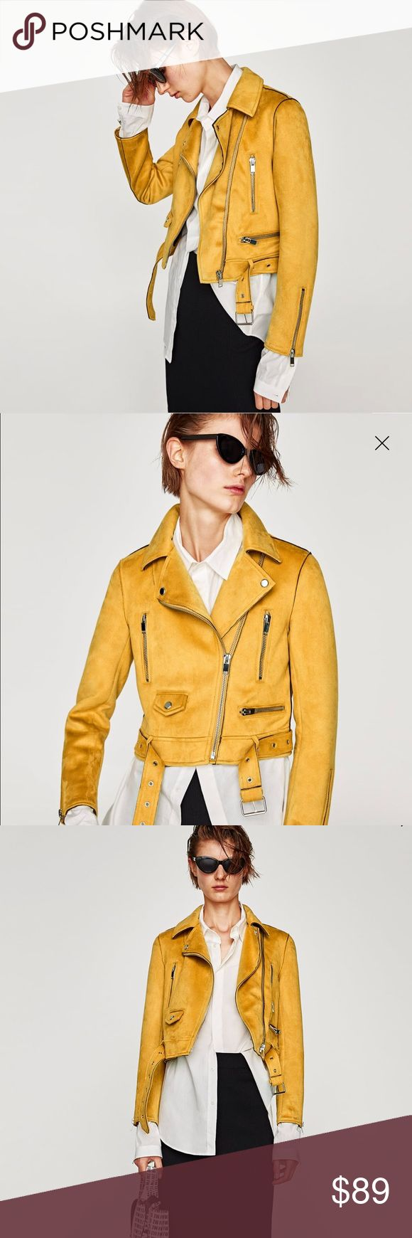Zara Yellow / Mustard Faux Suede Biker Jacket Size Large. SUPER amazing and cute yellow suede jacket from Zara. Can do venmoooo or PayPal also Zara Jackets & Coats