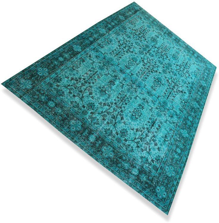 Zeegroen / turquoise vintage vloerkleed ( 2,64 x 1,66 m )  N°610