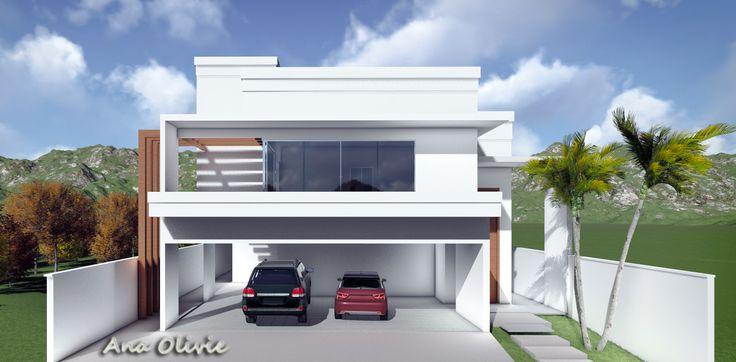 Arquitetura residencia fachada contempor neo 3d for Casa moderna revit