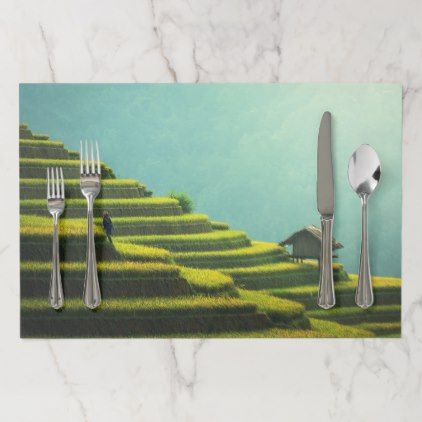 #China agriculture rice harvest paper placemat - #country gifts style diy gift ideas