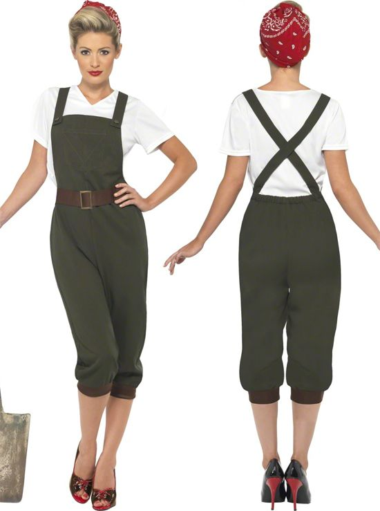 Women Land Wartime Outfit Ww2 1940 S Fancy Dress Costume Size 6 24 Clic Pin Up Costumes 1940s Dresses