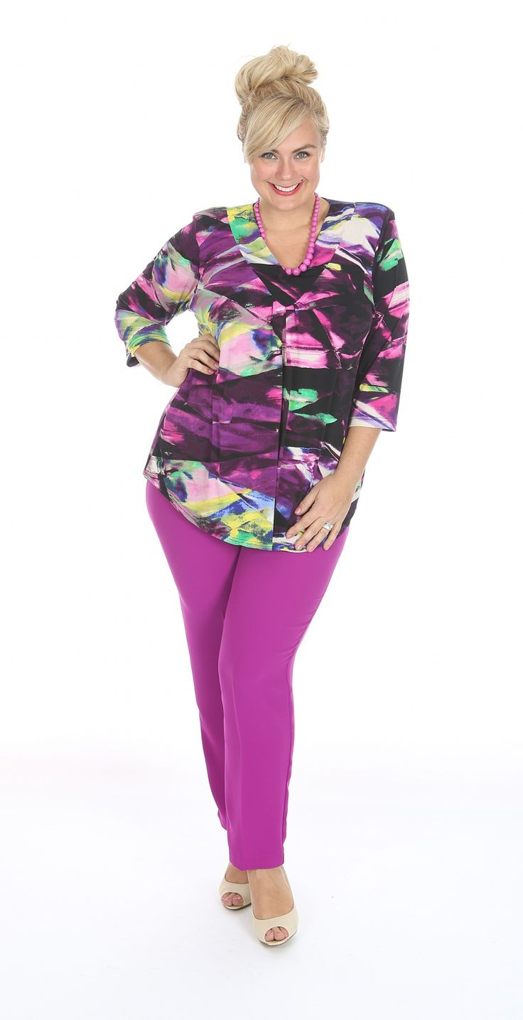 Poly spandex v-neck top in purple: Add a splash of colour to your winter wardrobe.  Bright tones, easy wear, poly spandex top. Fabric: Polyester Spandex Label: Lagos