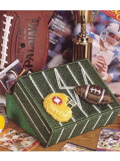 Football Keepsake Box ~ Plastic canvas