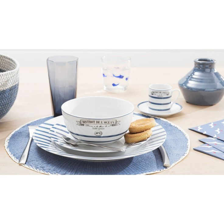 awesome assiette bistrot maison du monde 10 assiette plate rayures en porcelaine bleue d 27. Black Bedroom Furniture Sets. Home Design Ideas