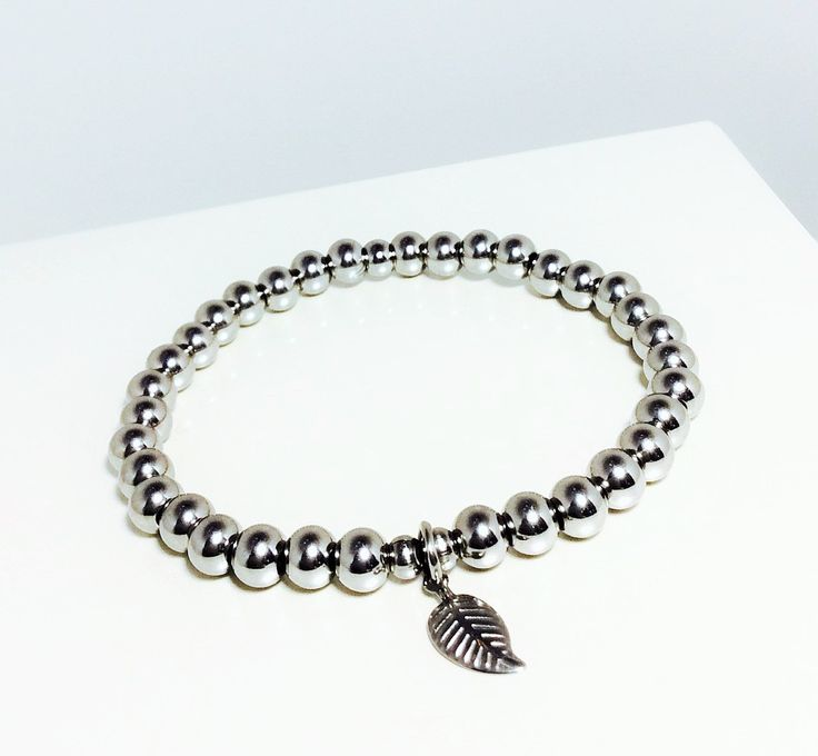 SPECIAL - Stainless Steel Charm Bracelet, charm Bracelet, Beaded silver bracelet, Beaded Stretch bracelet, free shipping