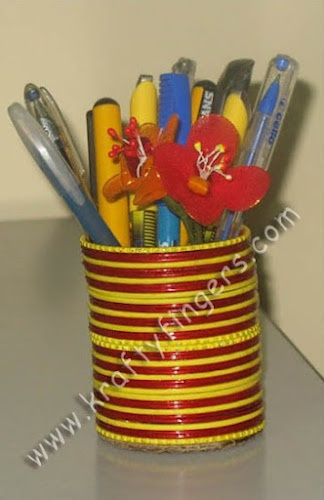 A best out of waste project a colorful pen holder made for Project of best out of waste