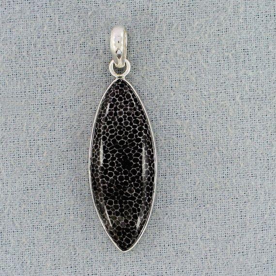 Marquise Shape Black Coral Pendant,  Cab Fossil Black Coral Gemstone Sterling Silver Pendant - Gift For Bridal- Handmade Gemstone Pendant