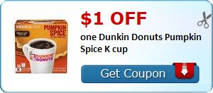 New Coupon!  $1.00 off one Dunkin Donuts Pumpkin Spice K cup - http://www.stacyssavings.com/new-coupon-1-00-off-one-dunkin-donuts-pumpkin-spice-k-cup/